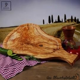 Steakbrett aus Olivenholz mit Saftrille