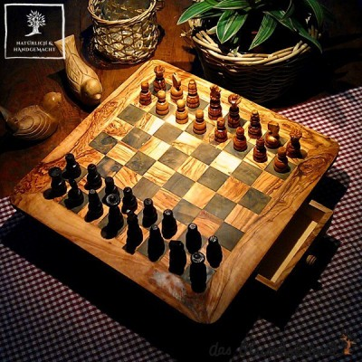 Handcrafted chess board with drawer