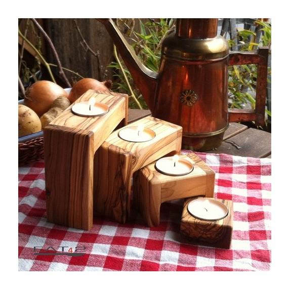 Set of 4 tealight holders olive wood