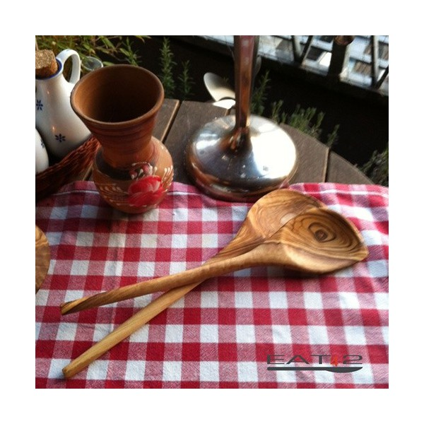 2 er Set Kochlöffel mit Ecke aus Olivenholz