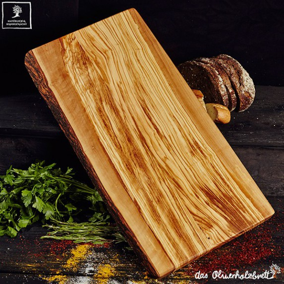 Olive wood kitchen center piece, large, rectangular one side natural