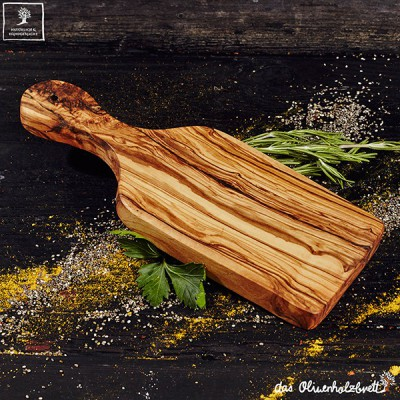 2 pc set olive wood cutting board with handle
