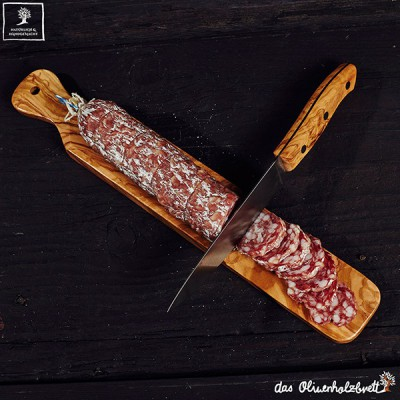 Salami board olivewood with knife
