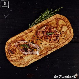 Olive wood cutting board with juice groove