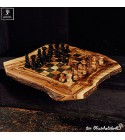 Olive wood chess game flat, inclusive figures