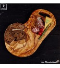 Olive wood cutting board, natural shaped with handle