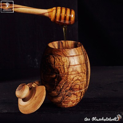 Honey pot with beautiful olive wood