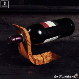 Handmade olive wood wine bottle holder