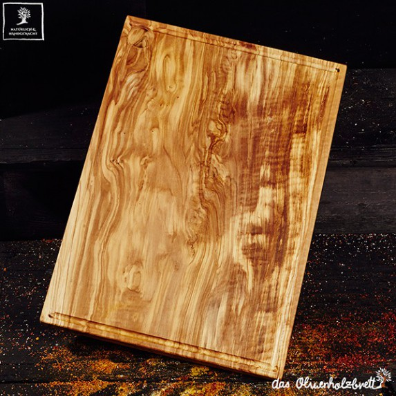 Chopping Board Olive Wood Rectangular Large With Juice Groove