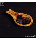 Small olive wood bowl with handle, individually formed like a fish