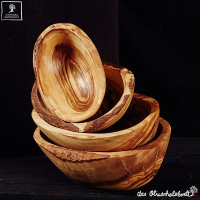 small olive wood bowl oval with natural edge