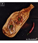 Wooden steak board with handle and juice groove