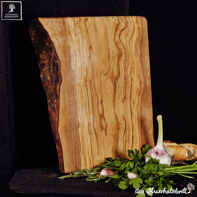 Cutting board olive wood, large, rectangular one side natural