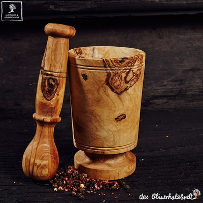 Mortar and pestle traditional style olive wood