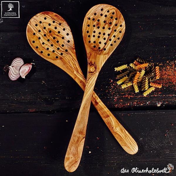 Spider Utensil: Olive Wood Strainer Spoon, Skimmer