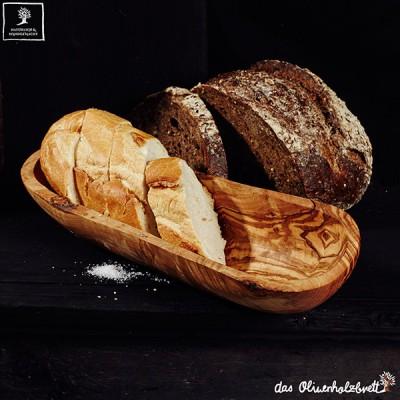 Baguette bowl made of olive wood