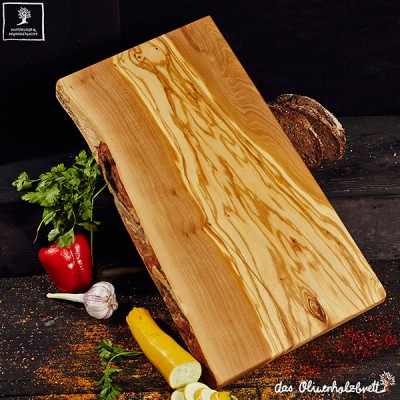 Chopping board olive wood, large, rectangular one side natural